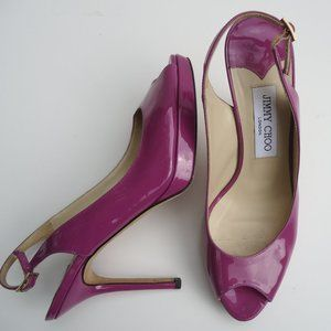 SIZE 8.Jimmy Choo London Purple High Heel Sandals.